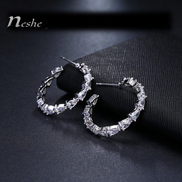AAA CZ Crystal White Gold Color Geometric Hoop Earrings - [neshe.in]