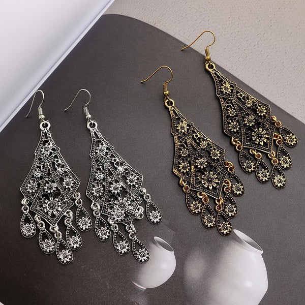 Ethnic Vintage Antique Look Carved Flower Long Dangle Earrings - 2 Colors - [neshe.in]
