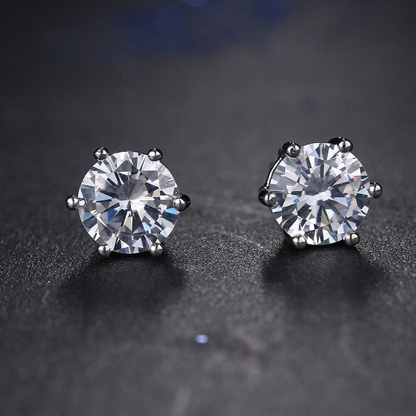 Shining Round CZ Solitaire Crystal Earrings - [neshe.in]