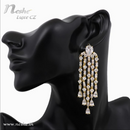 CZ Crystal yellow Golden Statement Party Wedding Dangle Earring - [neshe.in]