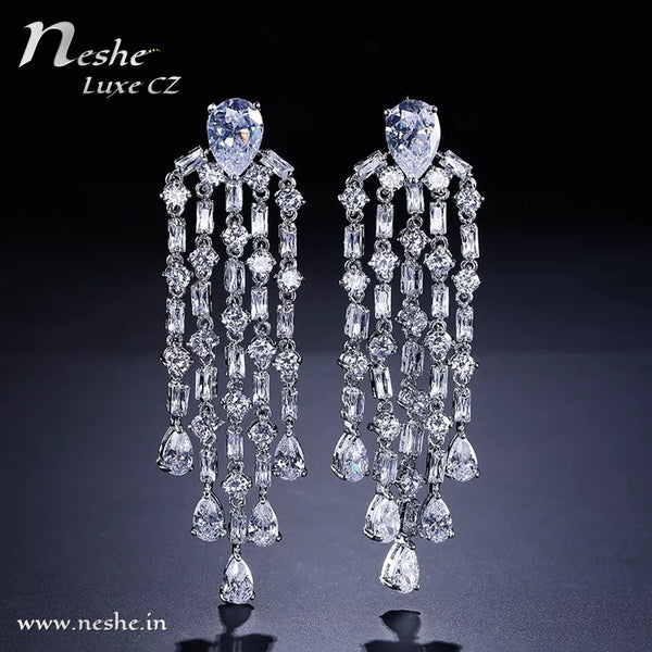 CZ Crystal Silver Statement Party Wedding Dangle Earring - [neshe.in]
