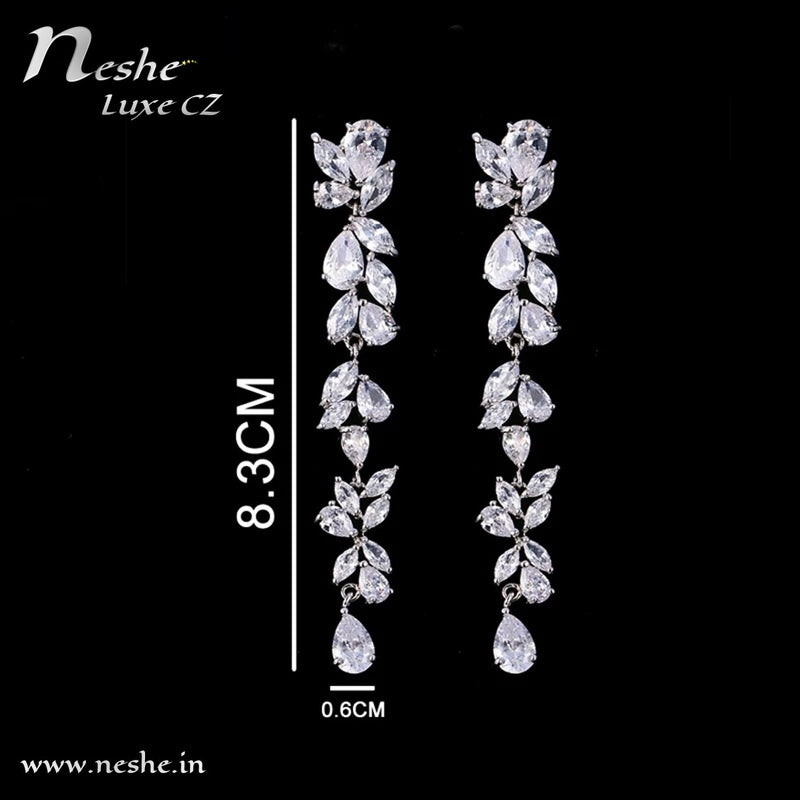 CZ Crystal Silver Leaves Statement Party Wedding Dangle Earring - [neshe.in]