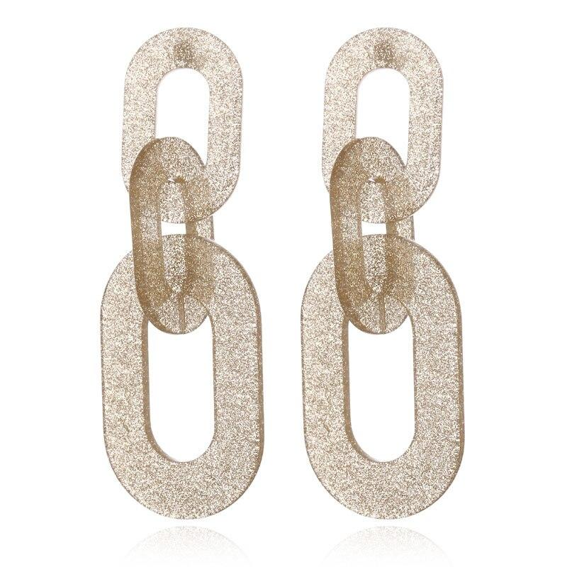 Linked Chain Shimmery Acrylic Party Styled Earring - 3 Colors - [neshe.in]