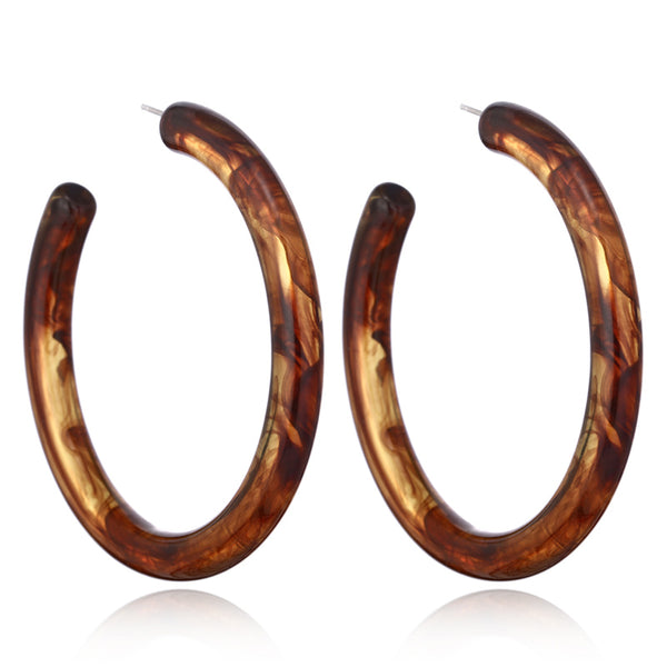 Big Brown Acrylic Acetic Hoop Earring -1 Color( Brown ) - [neshe.in]