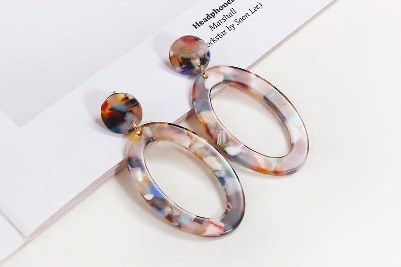 Colorful Acrylic Oval Drop Style Earrings - [neshe.in]