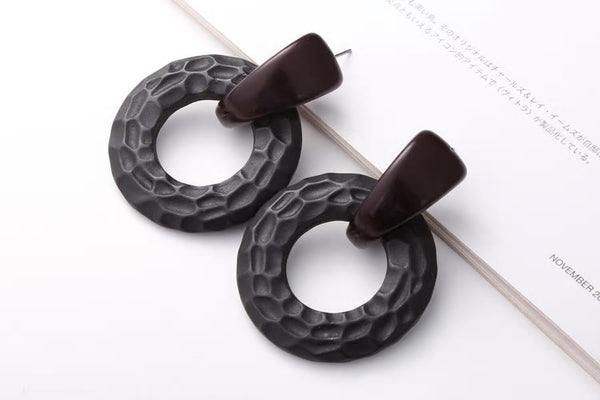 Big Black Chunky Textured Styled Acrylic Earrings - [neshe.in]