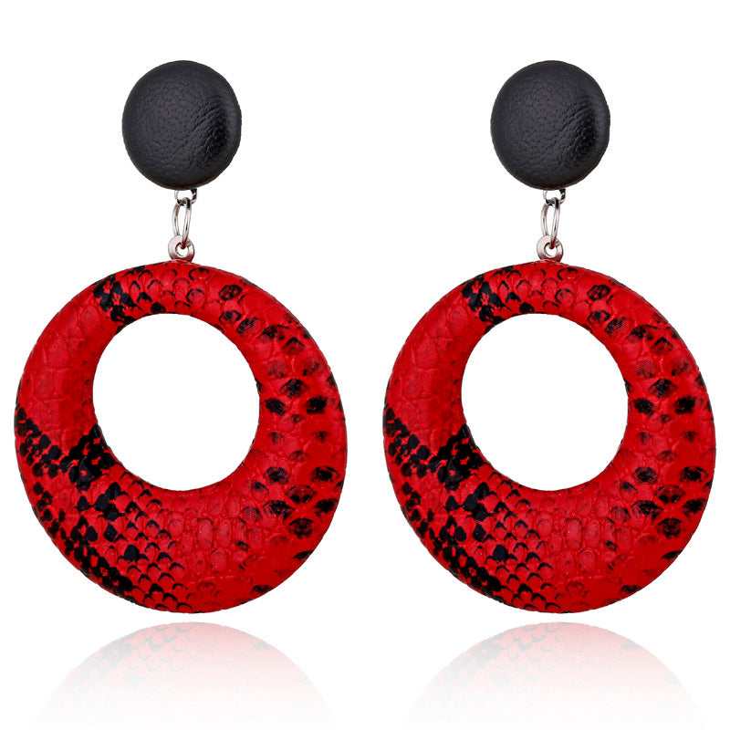 Snake Print Acrylic Small  Hoop Stud Styled Earring -2 Colors - [neshe.in]