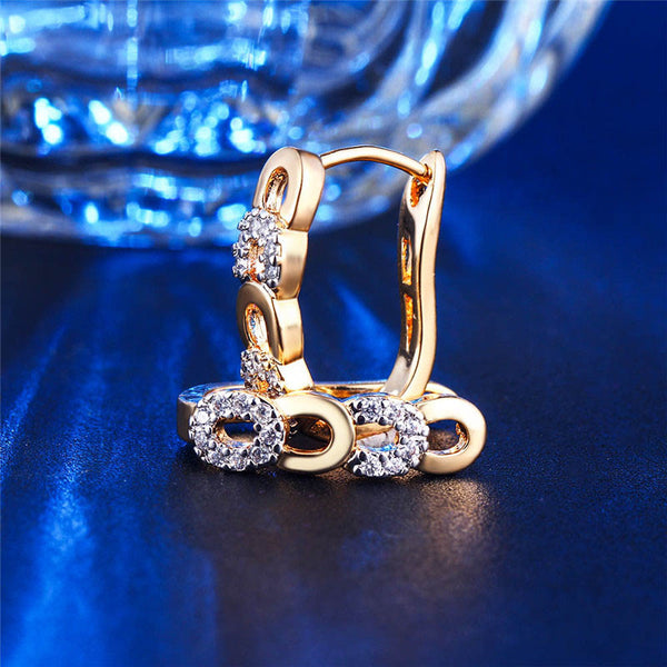 Golden Zircon Huggy Hoop Earring Style - [neshe.in]