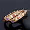 Golden Colorful zircon Crystal huggy hoop earring - [neshe.in]