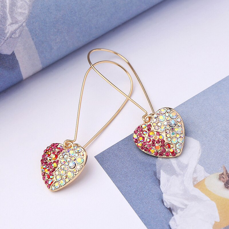 Colorful Crystal Heart Drop Party Earring - [neshe.in]