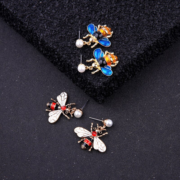 Vivid Enamel Bee Drop Insect Earring - 2 Colors - [neshe.in]