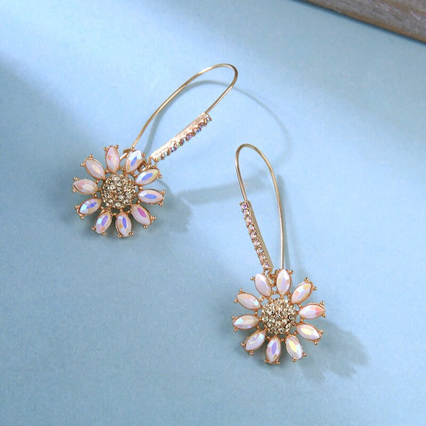 Crystal Flower Fish Hook Style Earring -2 Colors - [neshe.in]