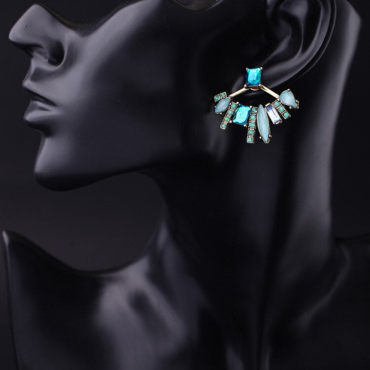 Ear Jacket with crystal  convertible in two style - [neshe.in]