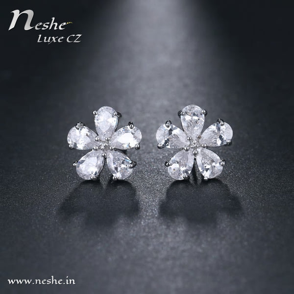 Cute CZ Flower Stud Bridal Earring