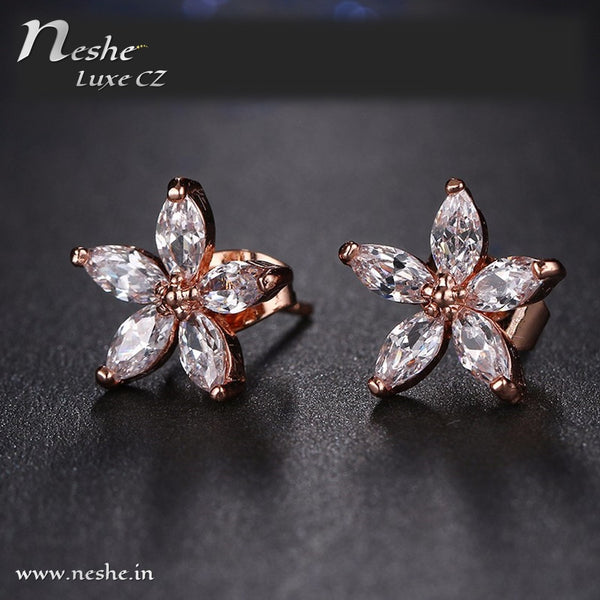 Clear CZ Trendy  Flower Shaped Earring
