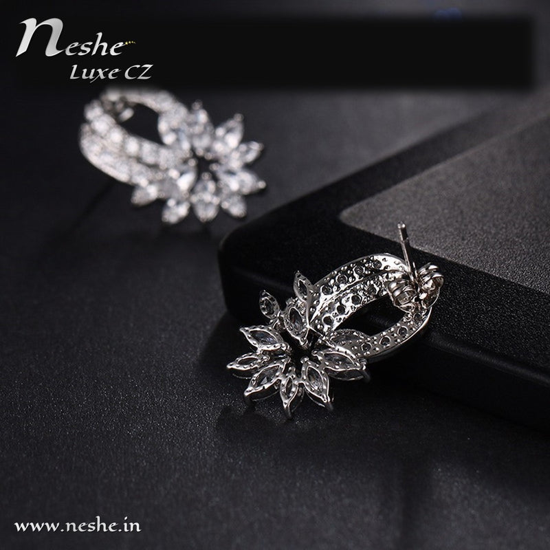 Clear CZ Trendy Micro Pave Flower Shaped Earring
