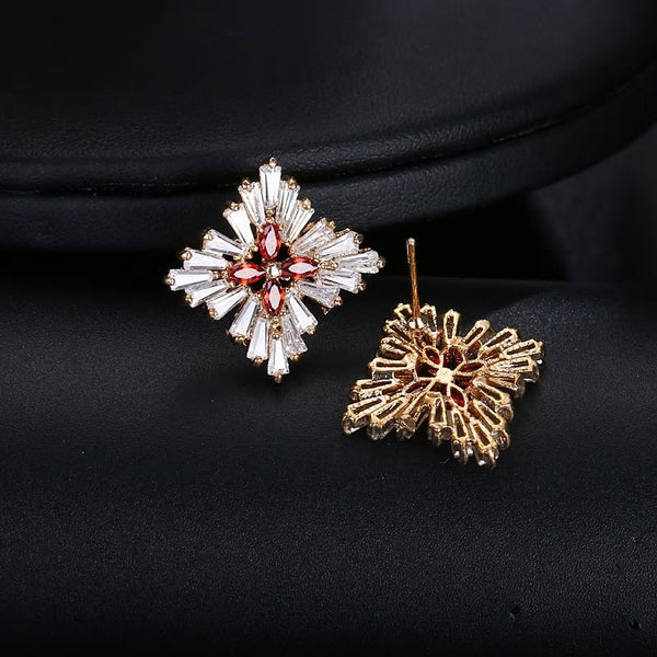 CZ Crystal Flower Square Party Earring