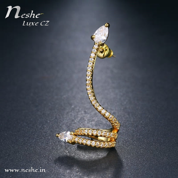CZ Snake Styled Spiral Drop Earring
