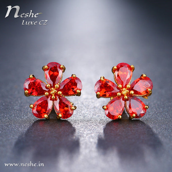 CZ Crystal Red Flower Stud Earring