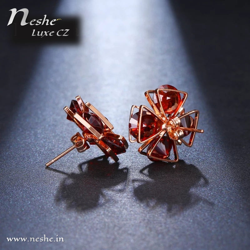 Flower Shape Red CZ Crystal Geometric Stud Earrings