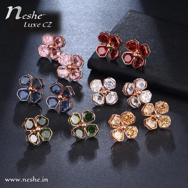 CZ Flower Crystal Geometric Stud Earrings - 3 Colors