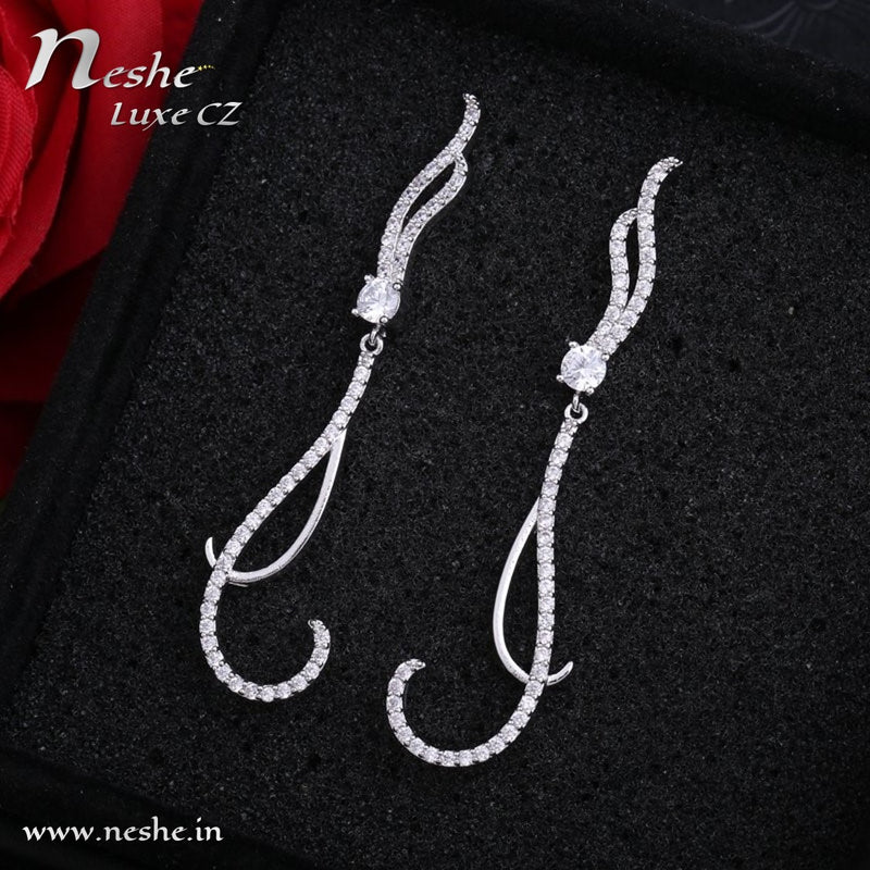 CZ Long Silver Thin Dangle Earrings