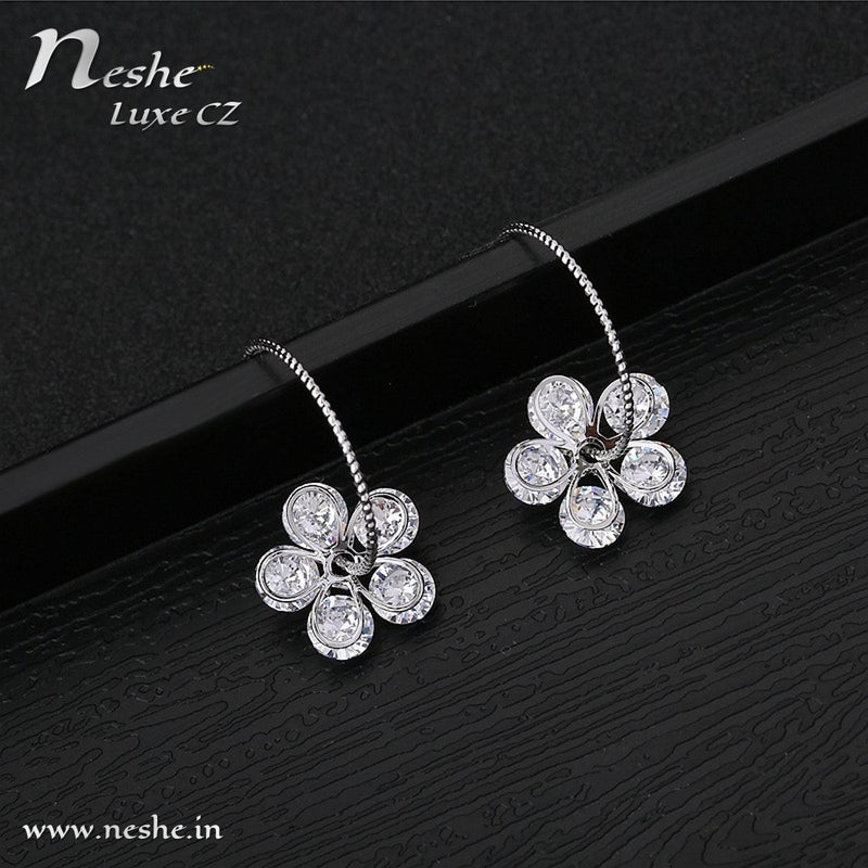 CZ Delicate Flower Hook Style Stud Earrings
