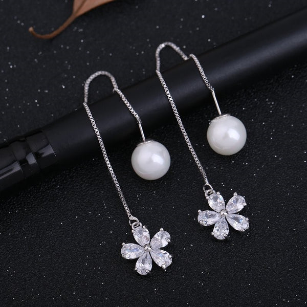 CZ Flower And Pearl Needle Type Earrings