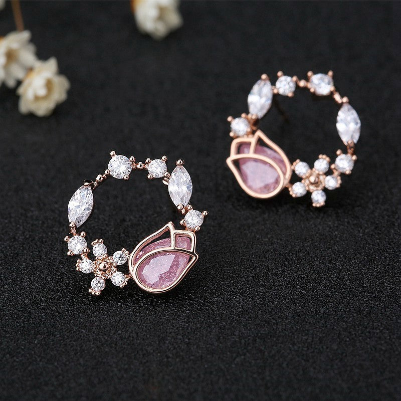 CZ Pink Tulip Rose Gold Style Stud Earrings