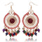 Beautiful Colorful Resin Beads Tassels Round Shape Alloy Drop Earrings - 3 Colors - [neshe.in]