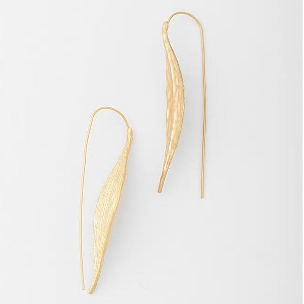 Leaf Styled Needle Hoop Hook Styled Earring