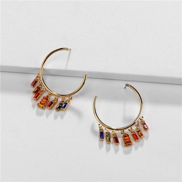 Golden Hoop Earning with Crystal Dangle