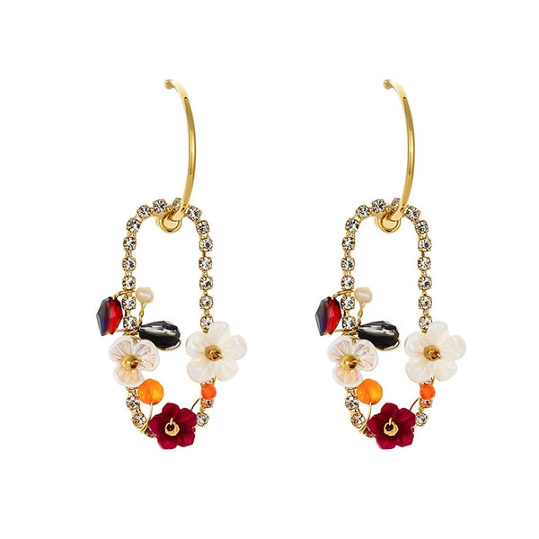 Trendy Luxury Zirconia Dangle Natural Pearls Shell Flower Statement Earring