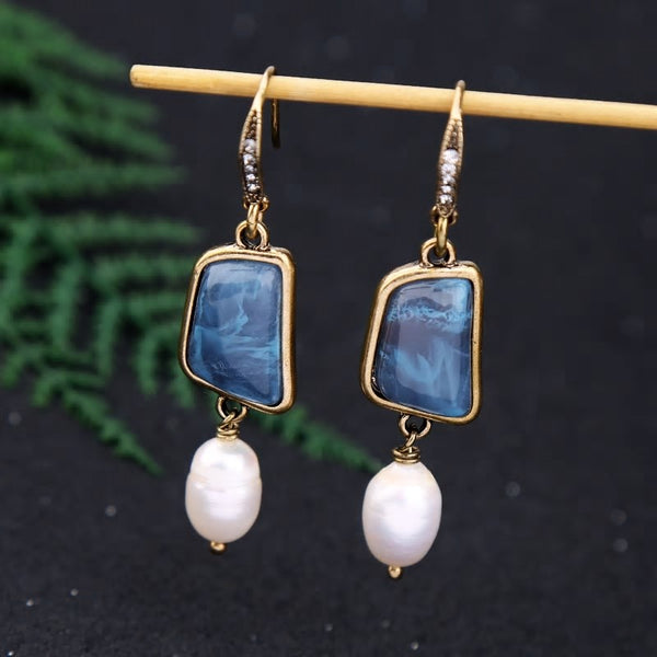 Antique Blue Pearl Drop Earring