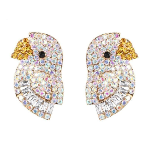 Bird Shaped Crystal Embedded Earring -2 Colors