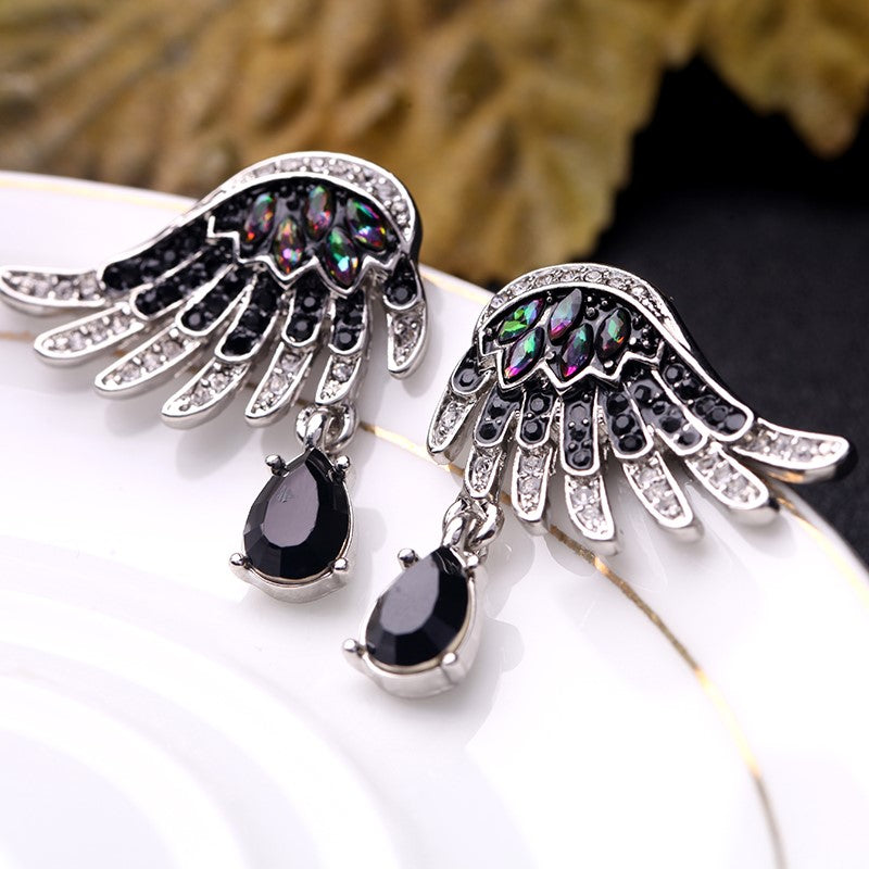 Gothic Stylish Crystal Embellished Wing Earring