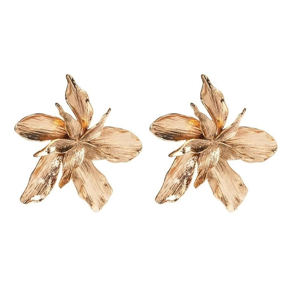 Golden Textured Metal Flower Stud Statement Earring