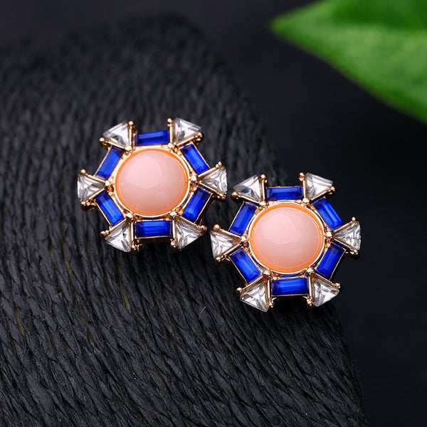 Pink & Blue Stylish Crystal Party Stud Earring