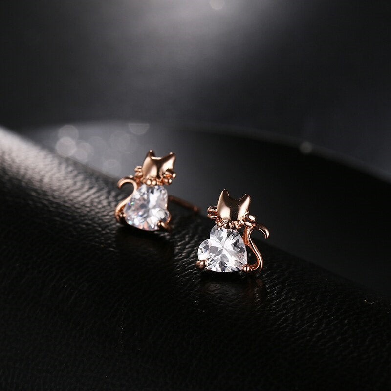 Small rose gold heart shape CZ cat stud earring