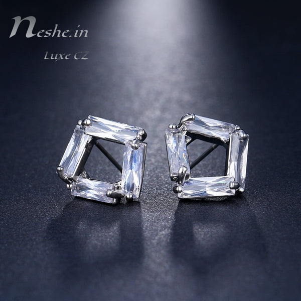 Geometric clear CZ crystal stud earring