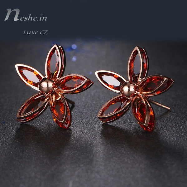 Elegant Red Orange Flower Rose Gold CZ Crystal Stud Earring