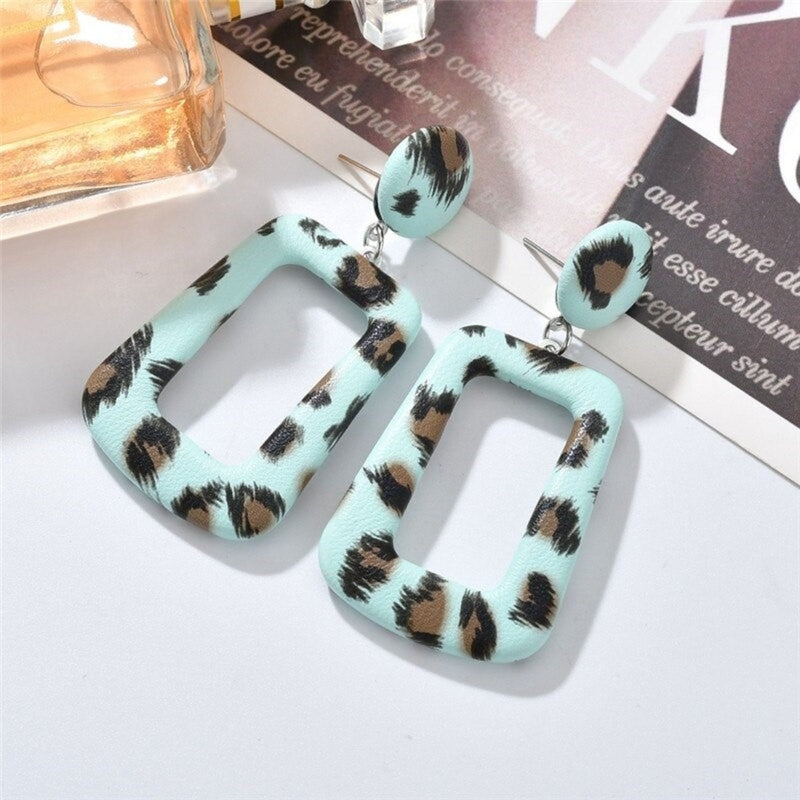 Printed Geometric Acrylic Leather Wrap Drop Earrings - 5 Styles