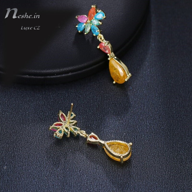Tropical Style Dazzling CZ Crystal Waterdrop Dangle Earrings Multicolor - 3 Colors