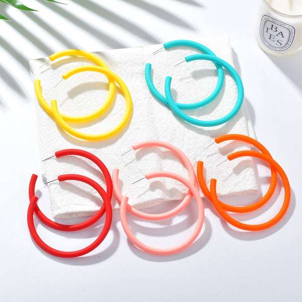 Candy Colors Geometric Circle Acrylic Hoop Earrings - 5 Styles