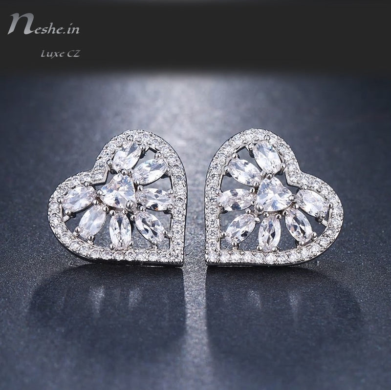 Romantic Heart Shape CZ Crystal Elegant Stud Earrings