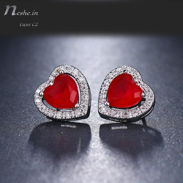 Cute CZ Heart Shaped Stud Earring