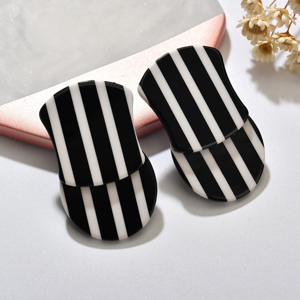 Black & White Stripes Acrylic Stud Earrings