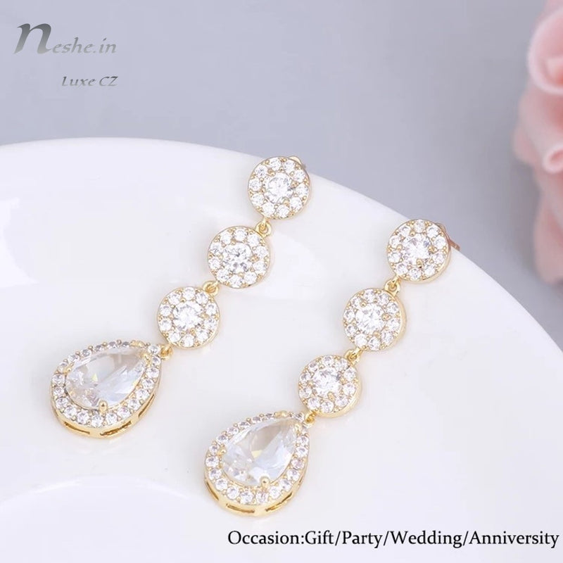 Glittering Water-Drop AAA CZ Crystal Wedding Party Earrings