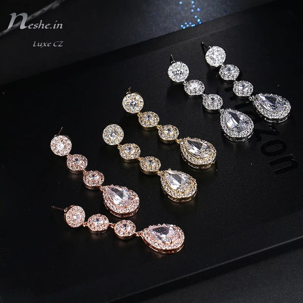 Glittering Water-Drop AAA CZ Crystal Drop Wedding Party Earrings Silver