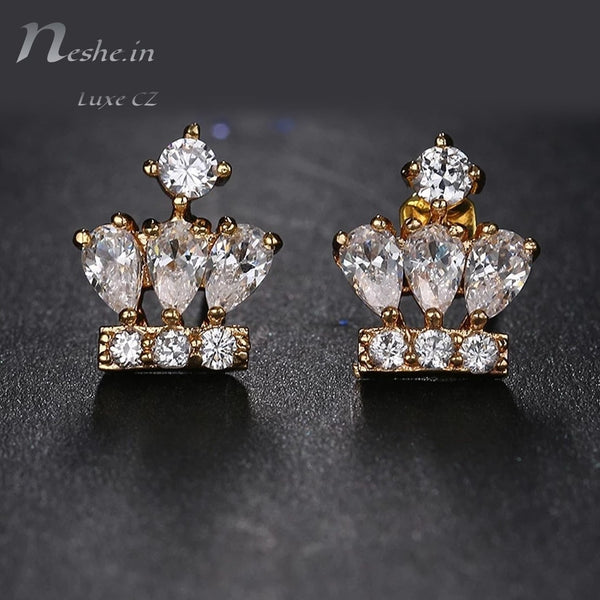 Cute Lovely Golden CZ Crystal Crown Stud Earrings